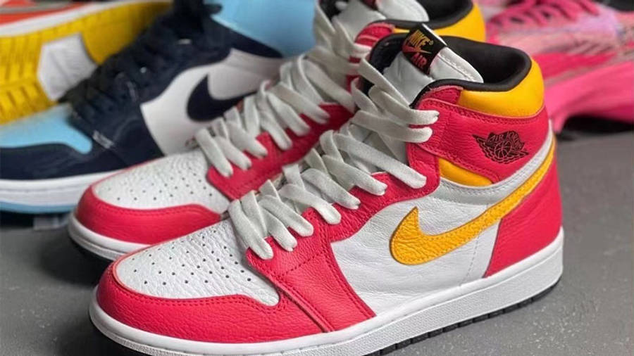 Jordan 1 High OG Light Fusion Red Yellow First Look Front