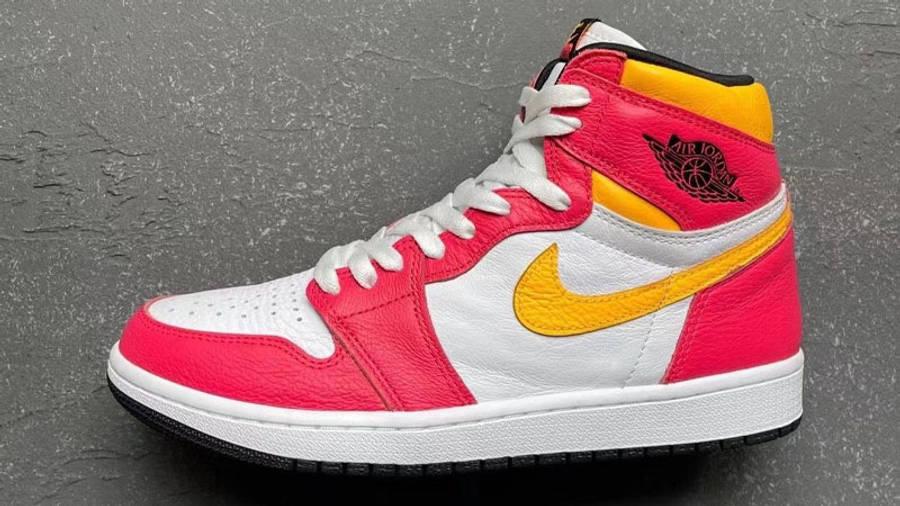 Jordan 1 High OG Light Fusion Red Yellow First Look Side