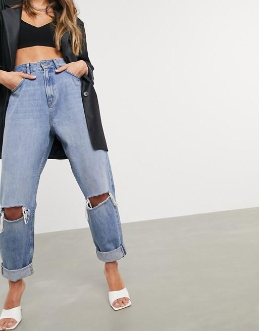 ASOS Design Mom Jeans Rip Mid Wash Blue