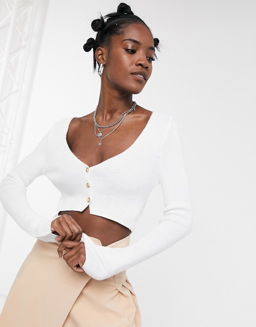 COLLUSION knitted super cropped cardigan in white