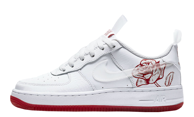 Nike Air Force 1 GS White University Red Rose