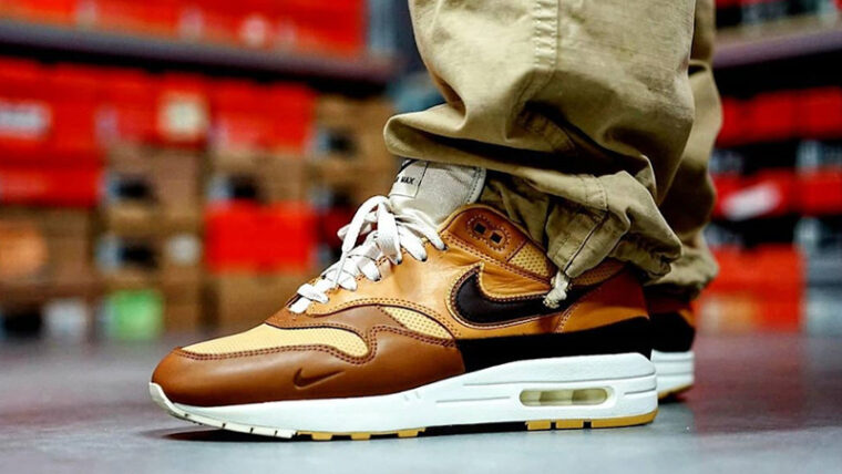 Nike Air Max 1 SNKRS Day Brown On Foot thumbnail image