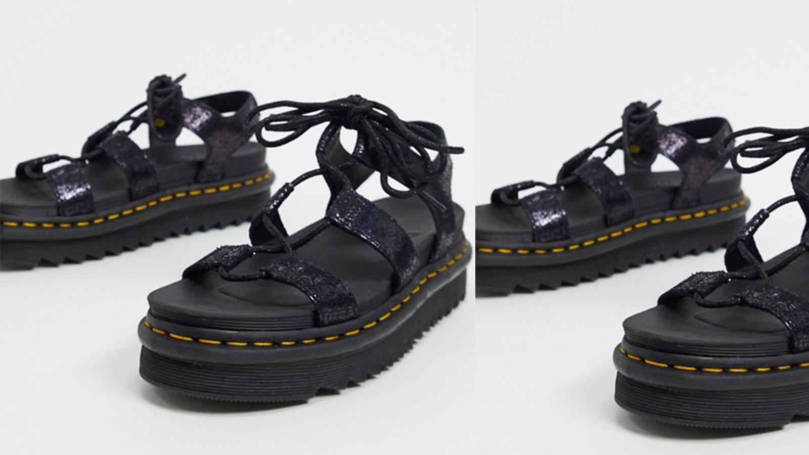 dr marten black crackle sandals