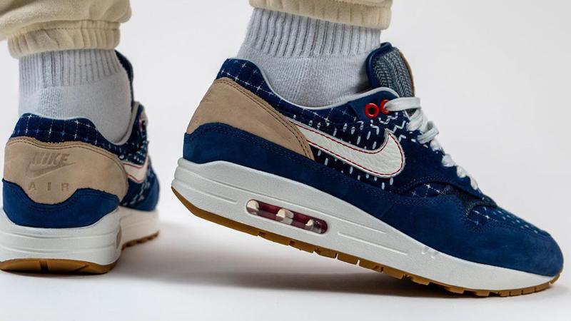Denham x Nike Air Max 1 Denim Blue On Foot Back