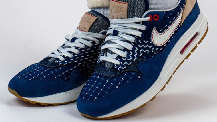Denham x Nike Air Max 1 Denim Blue On Foot Front thumbnail image