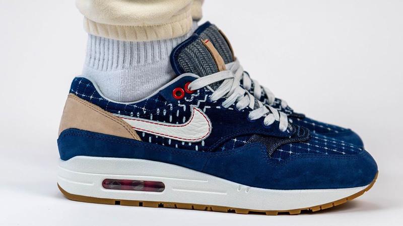 Denham x Nike Air Max 1 Denim Blue On Foot Side