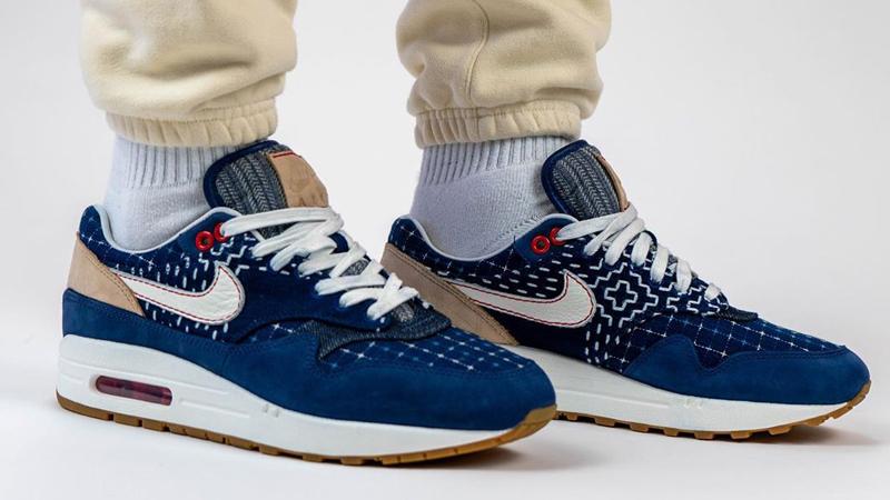 Denham x Nike Air Max 1 Denim Blue On Foot