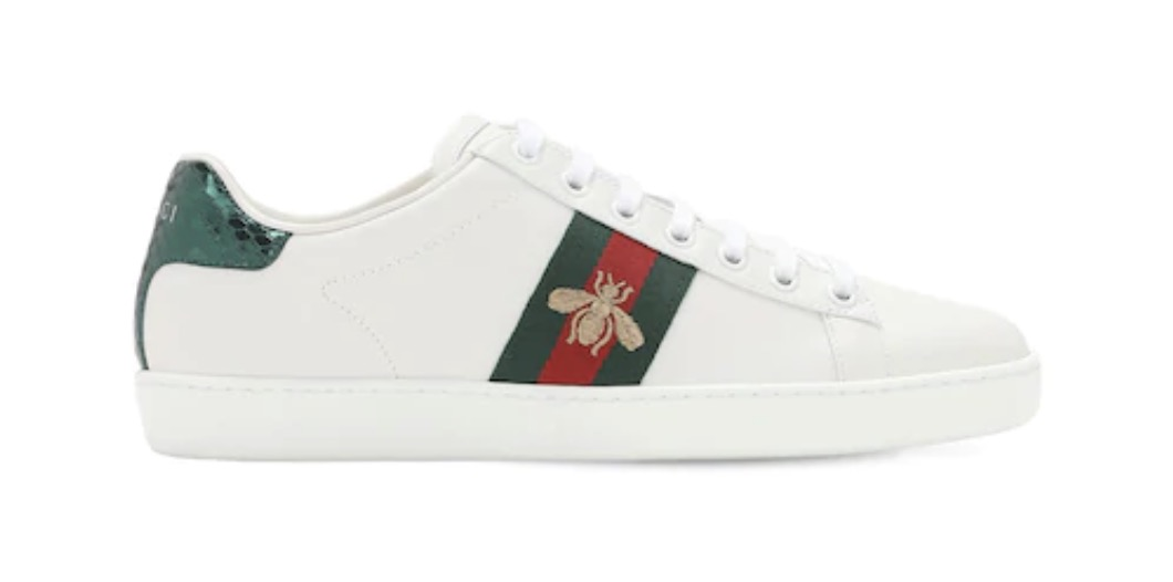 Gucci New Ace Embroidered Bee White