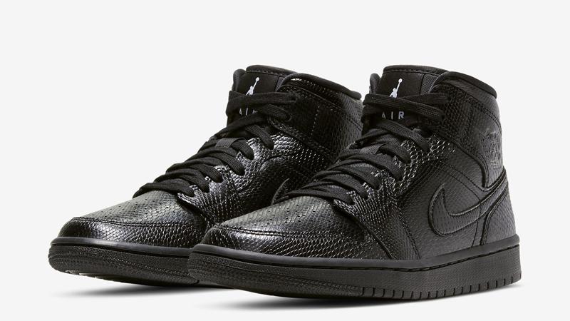 Jordan 1 Mid Black Snakeskin Front