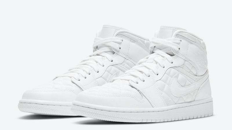 Jordan 1 Mid SE White Quilted Front