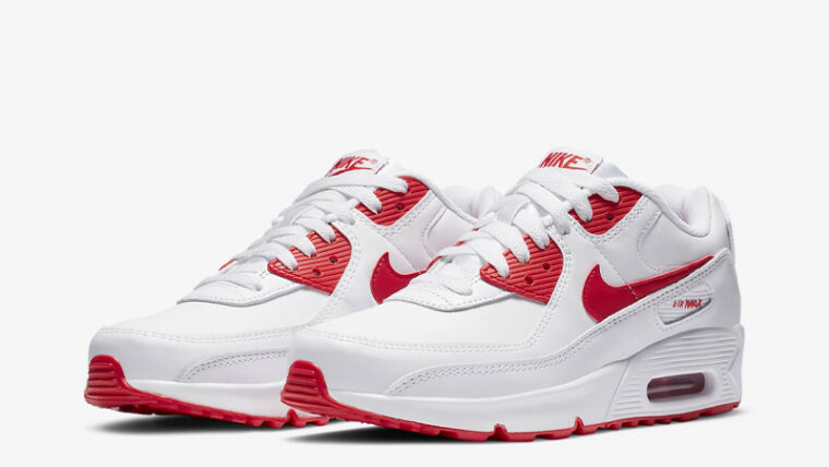 Nike Air Max 90 LTR GS White Hyper Red Front thumbnail image