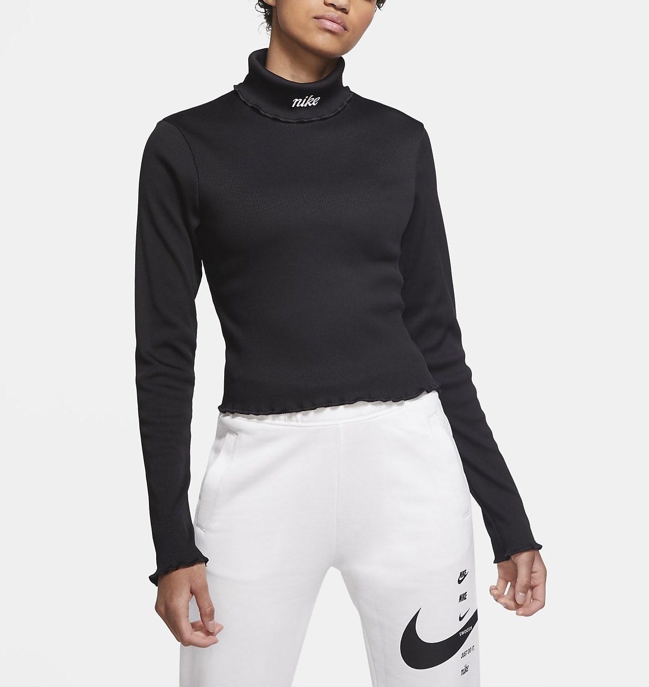 Nike Ribbed Long Sleeve Top Black