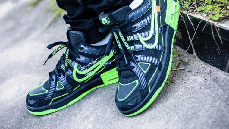 Off-White x Nike Rubber Dunk Green Strike Black On Foot Top thumbnail image