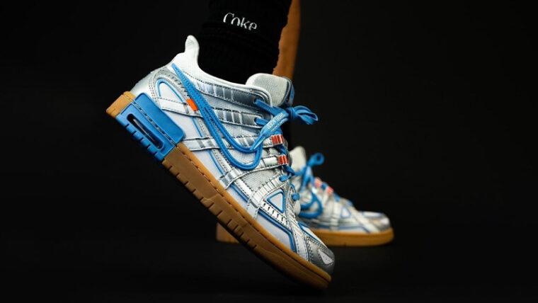 Off-White x Nike Rubber Dunk University Blue On Foot thumbnail image