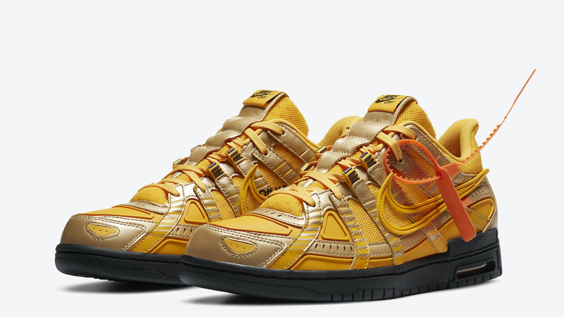 Off-White x Nike Rubber Dunk University Gold Front