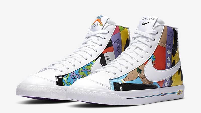 Ruohan Wang x Nike Blazer Mid 77 Flyleather Multi Front