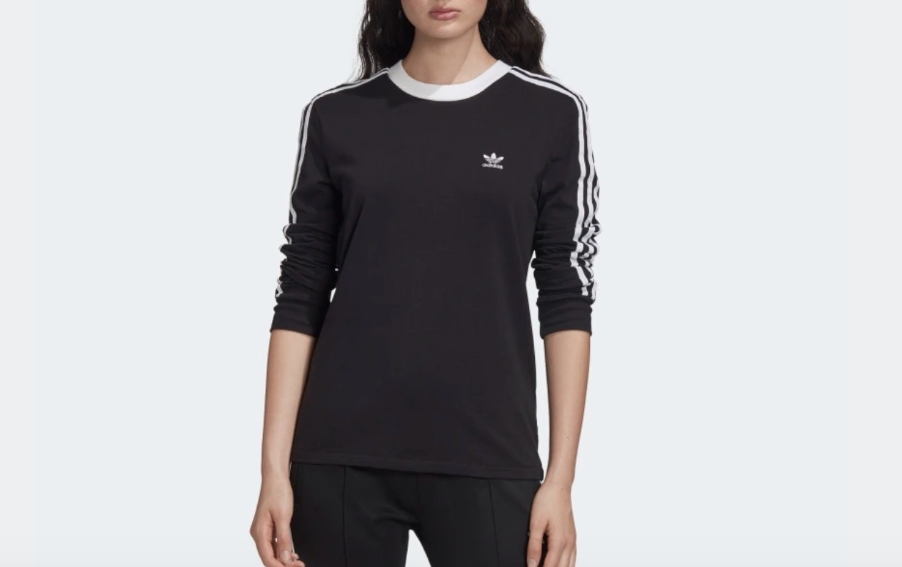 adidas 3-Stripe Long Sleeve Top Black