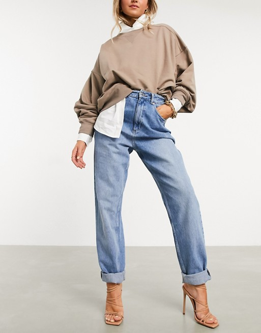 ASOS Design High Rise Mom Jeans Blue