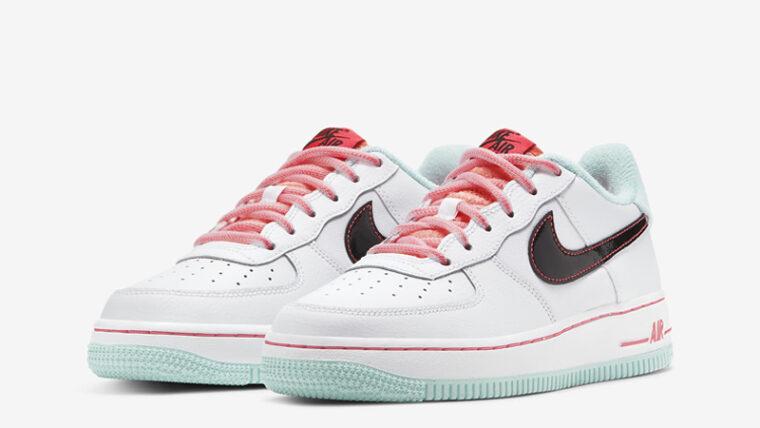 Nike Air Force 1 07 LV8 White Flash Crimson Atomic Pink Front thumbnail image