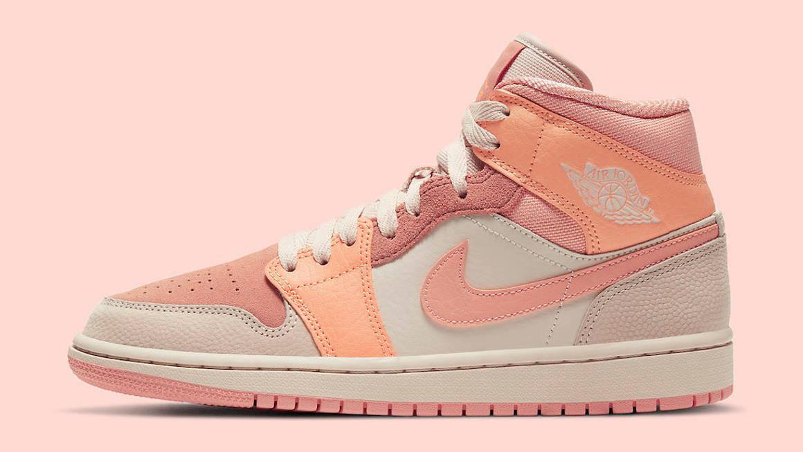 Pretty Peach Hues Decorate This Colourful Air Jordan 1 Mid   The ...
