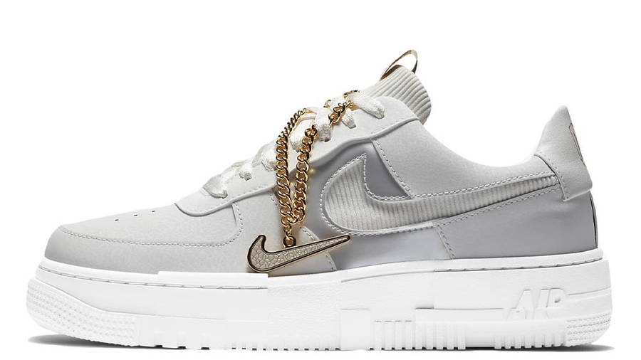 carne Aceptado Incomodidad  Nike Air Force 1 Pixel Grey Gold Chain | Where To Buy | DC1160-100 | The  Sole Womens