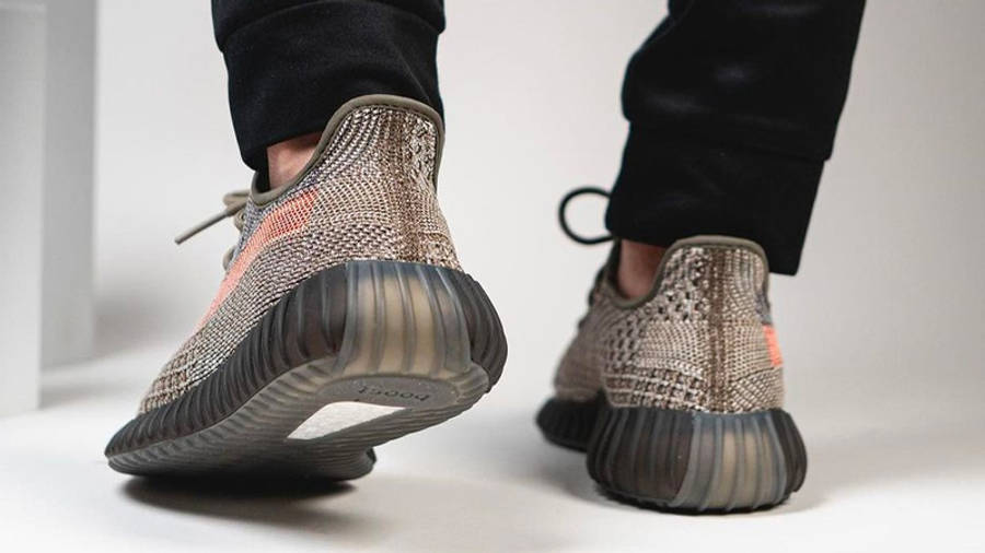 Yeezy Boost 350 V2 Ash Stone On Foot Back