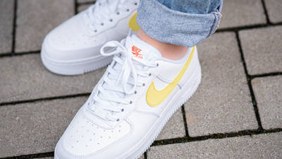 Nike Air Force 1 07 White Light Citron On Foot Top