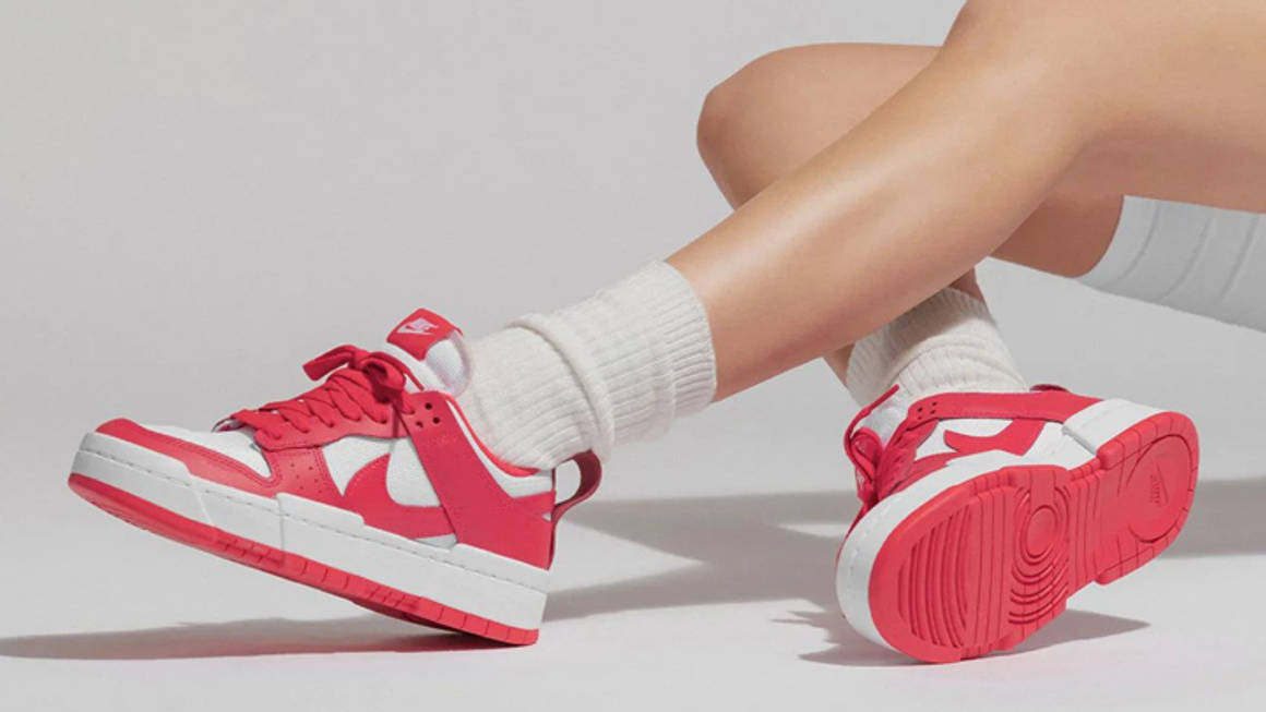 nike dunk low disrupt siren red white on foot w1160