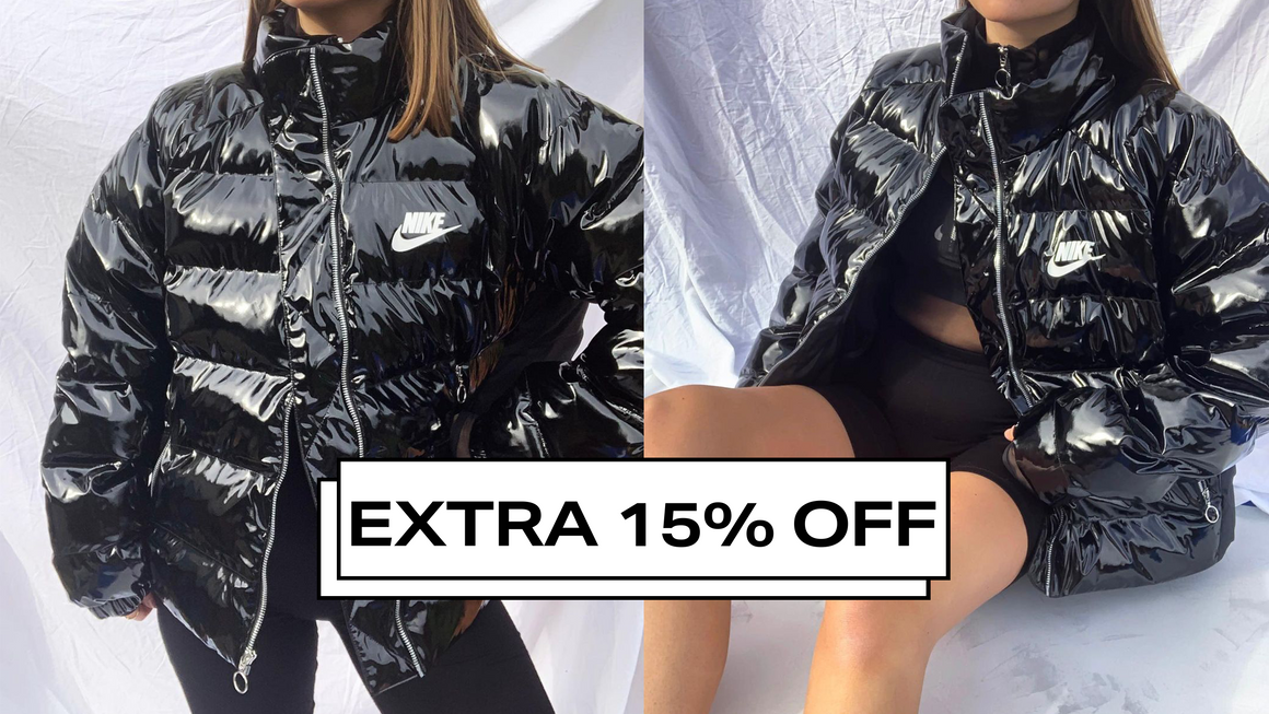 glossy puffer jacket feature