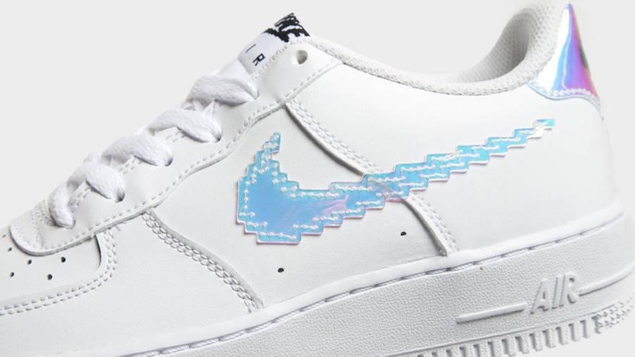 Nike Air Force 1 07 LV8 GS Pixelated Swoosh White Closeup