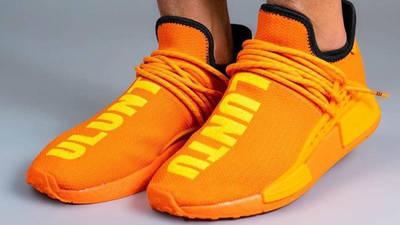 Pharrell x adidas NMD Hu Bright Orange On Foot Front