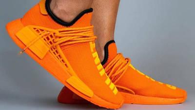 Pharrell x adidas NMD Hu Bright Orange On Foot