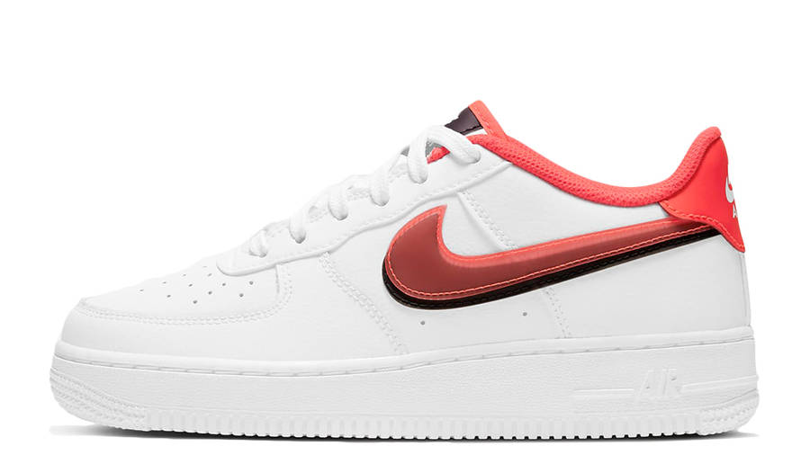 Nike Air Force 1 LV8 GS Double Swoosh White Bright Crimson