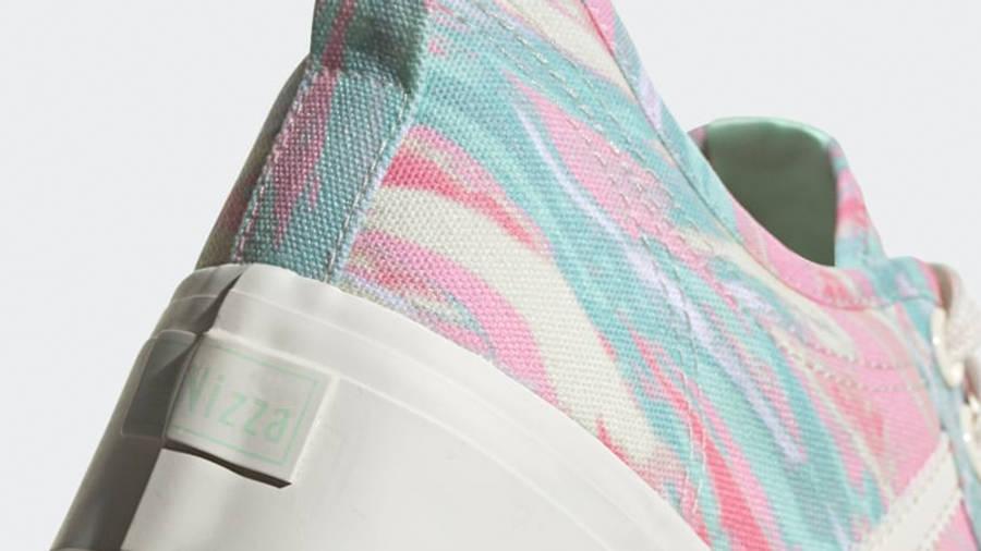 adidas Nizza Platform Chalk White Frozen Green Closeup