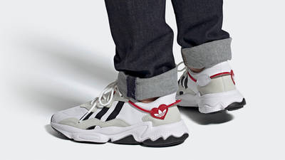 adidas Ozweego Hearts Pack Cloud White Scarlet On Foot