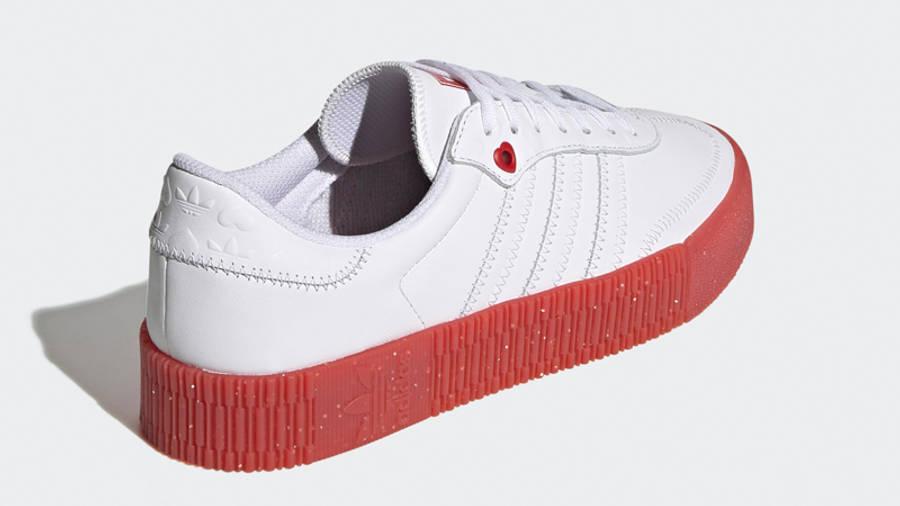 adidas Samba Rose Heart Print White Scarlet Back