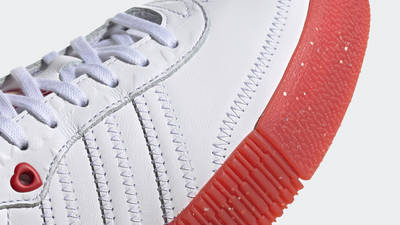adidas Samba Rose Heart Print White Scarlet Closeup