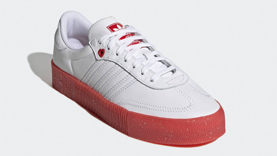 adidas Samba Rose Heart Print White Scarlet Front