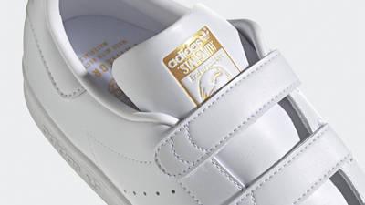adidas Stan Smith Cloud White Gold Metallic Closeup