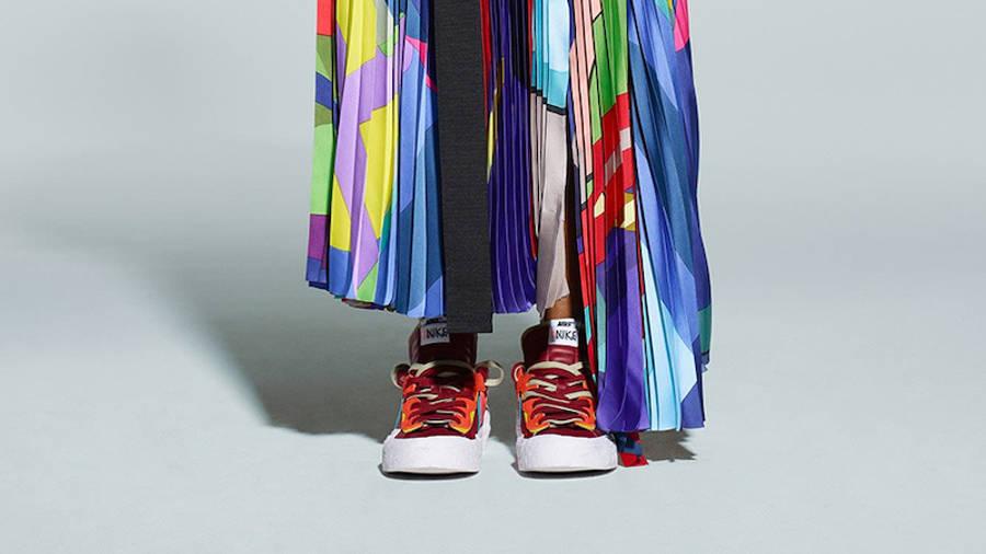 Kaws x Sacai x Nike Blazer Low Red On Foot Front