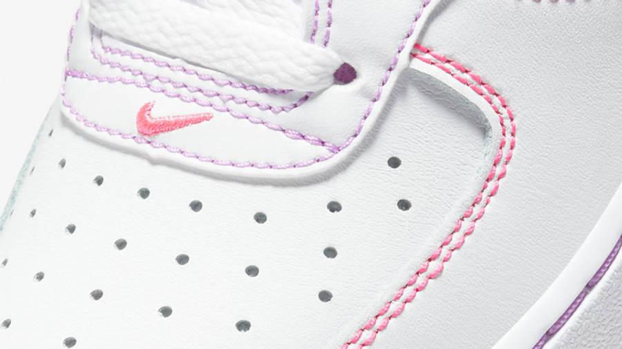 Nike Air Force 1 GS White Fuchsia Glow Closeup
