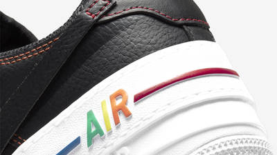 Nike Air Force 1 Shadow Multi Stitch Black Closeup