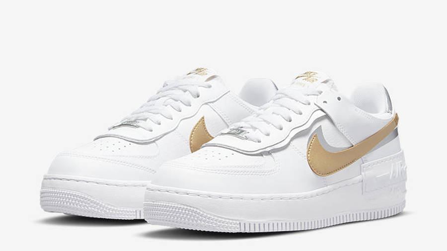 Nike air force one supreme Shadow White Metallic Gold Front