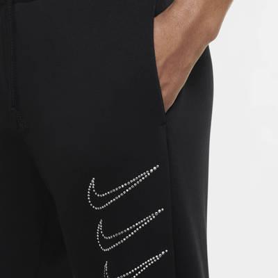 Nike Sportswear Rhinestone Fleece Trousers Black Closeup