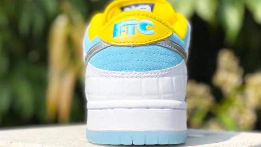FTC x Nike SB Dunk Low Bright White Blue Back