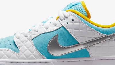 FTC x Nike SB Dunk Low White Blue Closeup