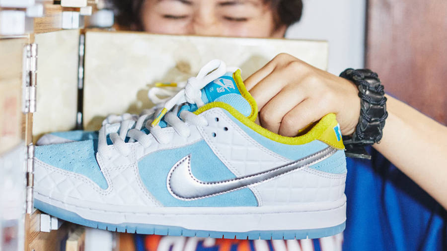 FTC x Nike SB Dunk Low White Blue In Hand