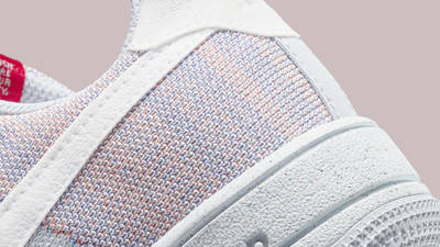 Nike Air Force 1 Crater Flyknit Grey Gym Red Closeup