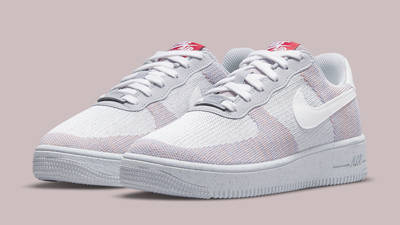 Nike Air Force 1 Crater Flyknit Grey Gym Red Front