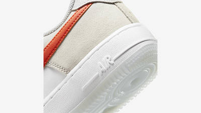 Nike Air Force 1 Low First Use White Orange DA8302-101 Back Detail